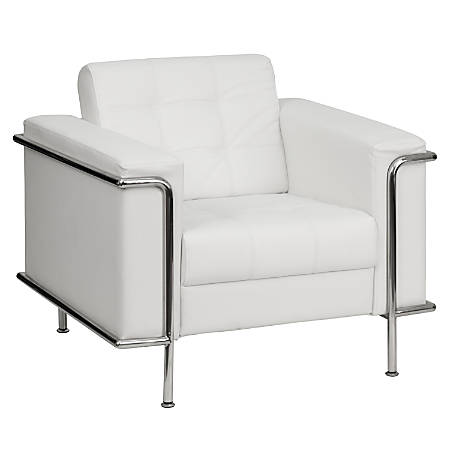 Flash Furniture Flash Furniture HERCULES Lesley Series Contemporary Leather Chair, White/Silver