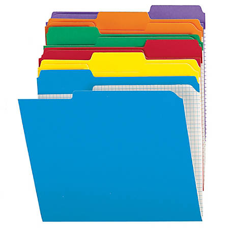 Office Depot® Brand Reinforced Tab Color File Folders With Interior Grid, 1/3 Cut, Letter Size, Assorted Colors, Box Of 100
