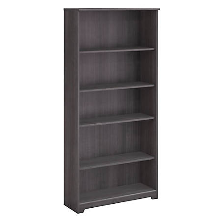 Bush Furniture Cabot 5 Shelf Bookcase, Heather Gray, Standard Delivery