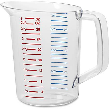 Rubbermaid Commercial Bouncer 1 Quart Measuring Cup - 7.61 fl oz - 1 Each - Clear - Polycarbonate