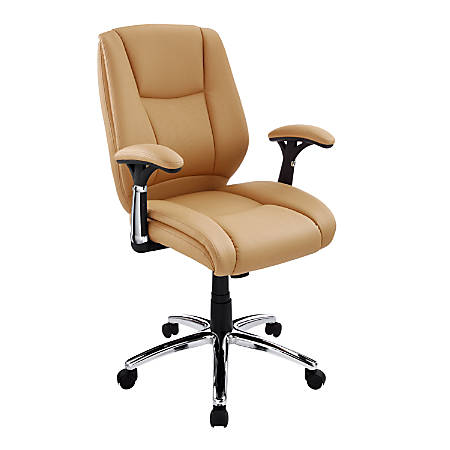 Realspace® Eaton Bonded Leather Managerial Mid-Back Chair, Tan/Black/Chrome