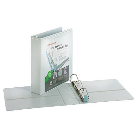 """Office Depot® Brand EasyOpen® ClearVue™ Locking Slant-D® Ring Binder, 2"""" Rings, Letter Size, White"""