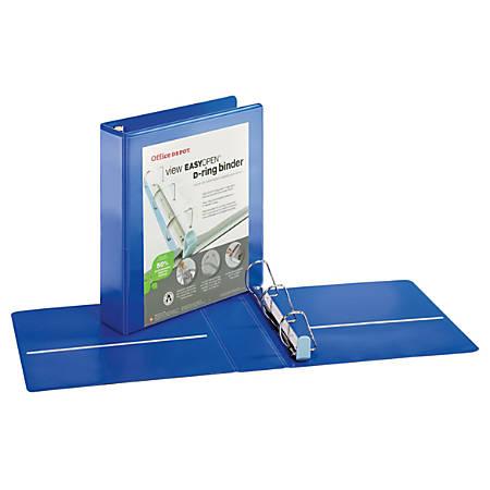 "Office Depot® Brand EasyOpen® ClearVue™ Locking Slant-D® Ring Binder, 2"" Rings, Letter Size, Blue"