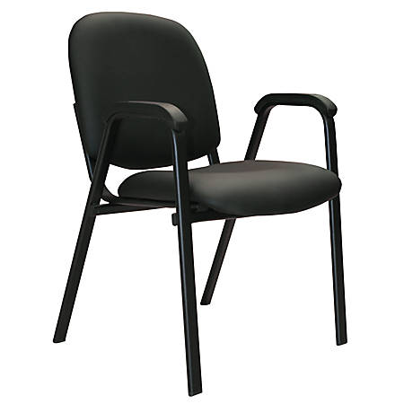Office-Stor Plus Stacking Bonded Leather Guest Chair With Arms, Black