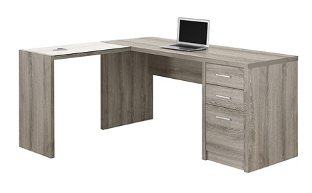 Monarch Specialties Corner Computer Desk With 3 Drawers Dark Taupe By Office Depot Officemax