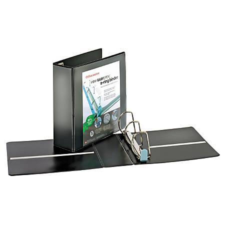 "Office Depot® Brand EasyOpen® ClearVue™ Locking Slant-D® Ring Binder, 4"" Rings, Letter Size, Black"