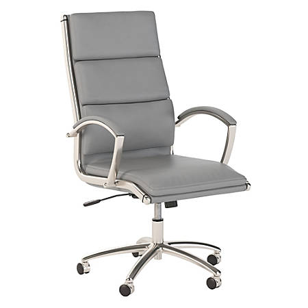 Bush Business Furniture Modelo High Back Leather Office Chair, Light Gray, Standard Delivery
