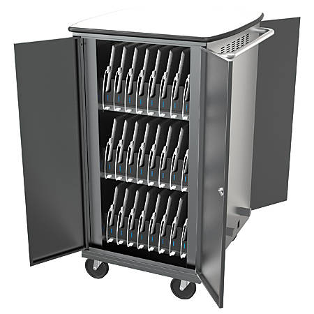"Balt® iTeach Steel High-Capacity Sync And Charge Cart, 40 1/4""H x 20 1/4""W x 27""D, Gray"