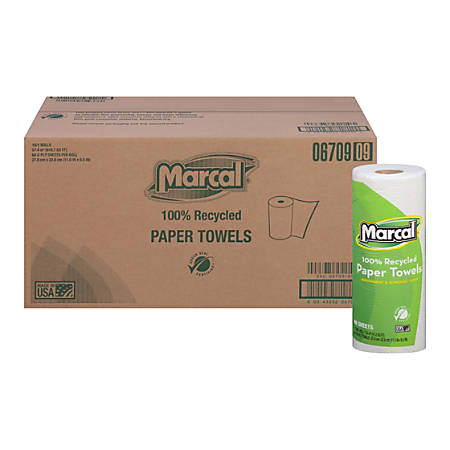 Marcal® Small Steps™ 2-Ply Paper Towels, 100% Recycled, 60 Sheets Per Roll, Case Of 15 Rolls