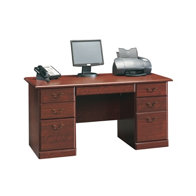 Sauder Heritage Hill Executive Desk 29 H X 59 12 W D Classic Cherry By Office Depot Officemax