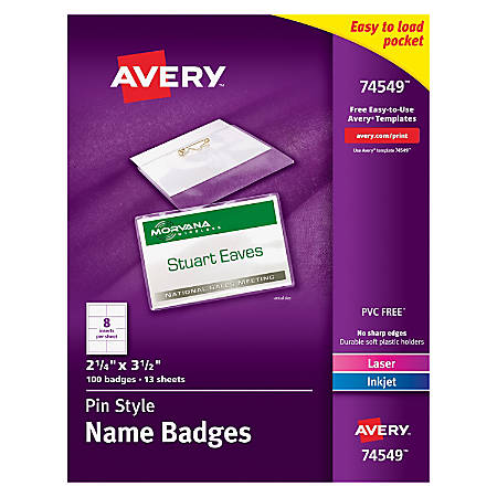 Avery pin style name badge kits business card size 2 14 x 3 12 box avery pin style name badge kits solutioingenieria