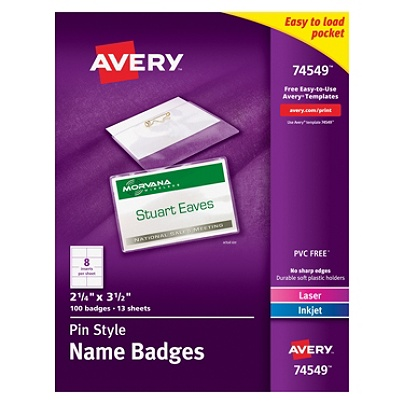avery pin style name badge kits business card size 2 14 x 3 12 box