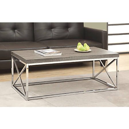 Monarch Specialties Hollow-Core Coffee Table, Rectangle, Dark Taupe/Chrome