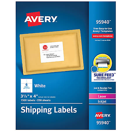 Avery Bulk Shipping Labels 95940 3 1 3 X 4 Fsc Certified White Pack Of 1 500 Item 303591