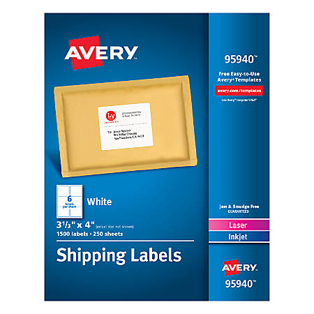 """Avery® Bulk Shipping Labels, 95940, 3 1/3"""" x 4"""", FSC Certified, White, Pack Of 1,500"""