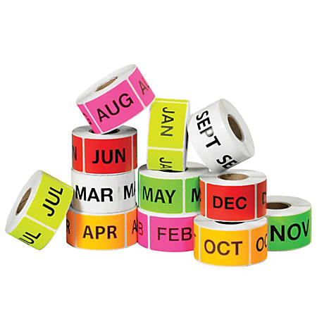 "Tape Logic® Months Of The Year Labels, DL1238, 2"" x 3"", Assorted Colors, 500 Labels Per Roll, Pack Of 12 Rolls"