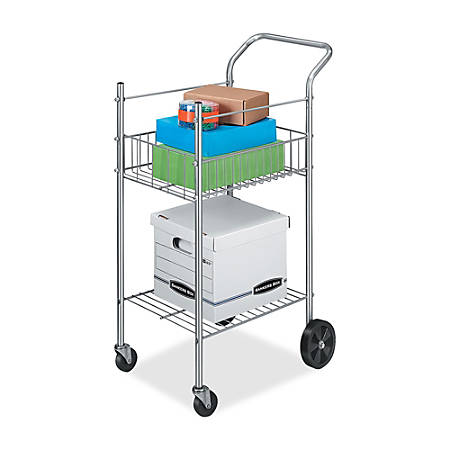 """Fellowes Double-Basket Wire Mail Cart, 40""""H x 16 1/4""""W x 26 1/4""""D, Silver"""