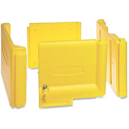 "Rubbermaid Commercial Locking Janitor Cart Cabinet - 20"" x 16"" x 11.2"" - Yellow - Polyethylene"