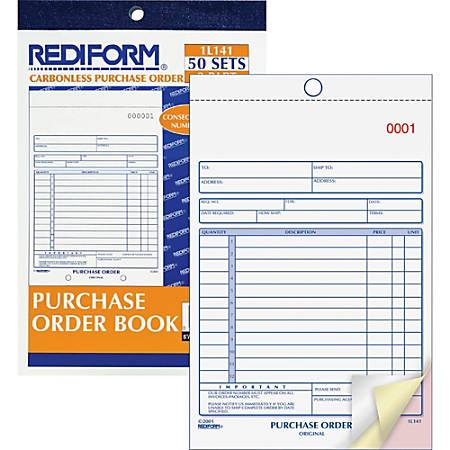 "Rediform 3-Part Carbonless Purchase Order Book - 50 Sheet(s) - 3 Part - Carbonless Copy - 5 1/2"" x 7 7/8"" Sheet Size - Blue Print Color - 1 Each"