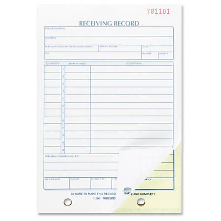"Rediform Carbonless Receiving Record Slip Book - 50 Sheet(s) - Stapled - 2 Part - Carbonless Copy - 5 1/2"" x 7 7/8"" Sheet Size - 2 x Holes - 1 Each"