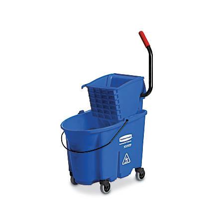 Rubbermaid® Commercial WaveBrake Plastic/Steel Side-Press Wringer/Bucket Combo, 8.75 Gallons, Blue