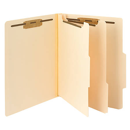 Smead® Manila Classification Folders, 2 Dividers, Letter Size, Box Of 10
