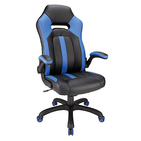 Realspace® Gaming Bonded Leather High-Back Chair, Blue/Black
