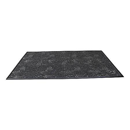 "Waterhog Plus Swirl Floor Mat, 48"" x 72"", 100% Recycled, Gray Ash"