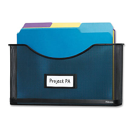 "Fellowes Mesh Partition File Pocket, 8 1/2"" x 11"", Black"