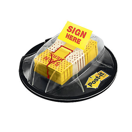 """Post-it® Message Flags in Desk Grip Dispenser, """"Sign Here"""", 1"""" x 1 -11/16"""", Yellow, 200 Flags"""