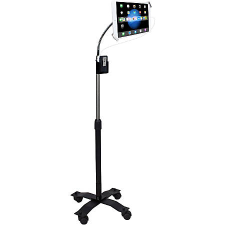 """CTA Compact Security Gooseneck Floor Stand - Mounting kit (gooseneck mount, stand base, holder, 4 casters, telescopic pole, cradle) for tablet - lockable - screen size: 7""""-13"""" - floor-standing"""