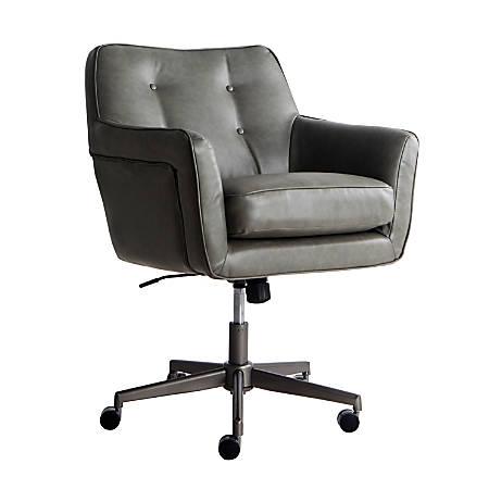 Serta Ashland Home Mid-Back Office Chair, Leather, Gray/Chrome