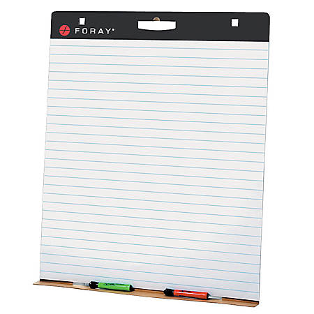 "FORAY® 80% Recycled Restickable Tabletop Chart Pad, 24"" x 32"", 1"" Ruled, 25 Pages"