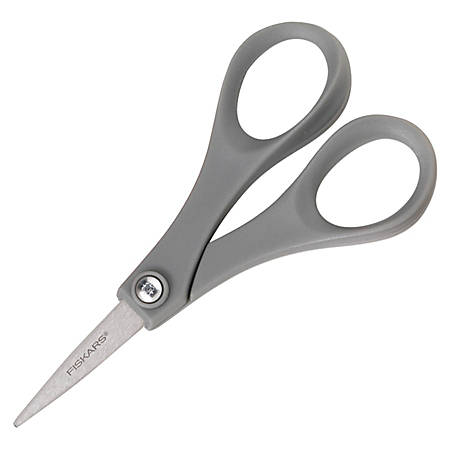 "Fiskars® Double-Thumb Scissors, 5"", Pointed , Gray/Silver"