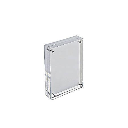 "Azar Displays Acrylic Vertical/Horizontal Block Frame, 4"" x 6"", Clear"