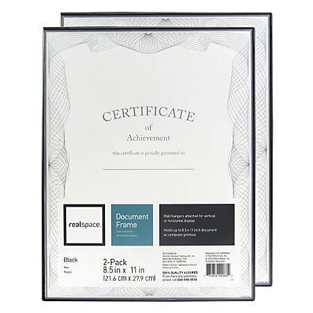 Realspace Slimline Document Frames 8 12 X 11 Black Pack Of 2 Frames