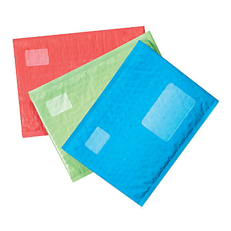 "Scotch® Cushioned Mailer, #2, 8 1/2"" x 11"", Red/Blue/Green, Pack Of 6"