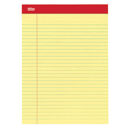 "Office Depot® Brand Perforated Writing Pads, 8 1/2"" x 11 3/4"", Legal Ruled, 50 Sheets, Canary, Pack Of 12 Pads"