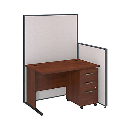 "Bush Business Furniture C Leg Desk and 3 Drawer Mobile Pedestal with ProPanels, 48""W, Light Gray, Standard Delivery"
