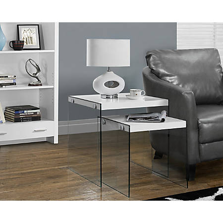 Monarch Specialties 2-Piece Nesting Table Set With Glass Base, Square, Glossy White