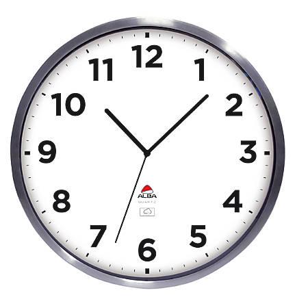 "Alba Outdoor Round Wall Clock, 14"" Diameter, Stainless Steel"