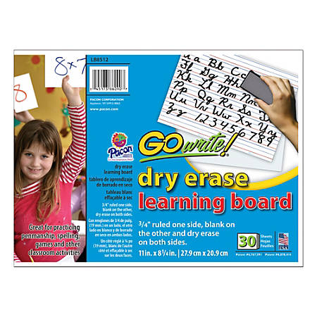 "GoWrite!® Dry-Erase Double-Sided Learning Boards, Non-Adhesive, 11"" x 8 1/4"", White, Pack Of 30"