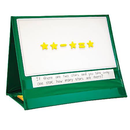 "Learning Resources Magnetic Demonstration Double-Sided Tabletop Pocket Chart, 20"" x 24"", Green, Grade 1 - Grade 4"