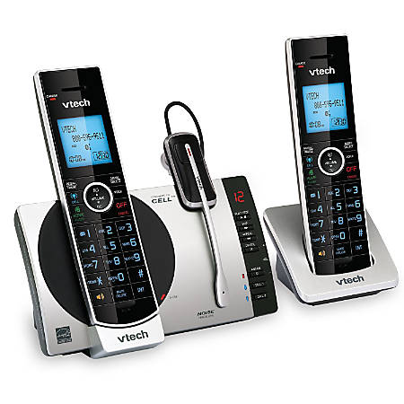 VTech® DECT 6.0 2 Handset Connect To Cell™ Cordless Phone With Digital Answering System, DS6771-3, 2 Handsets, 1 Cordless Headset