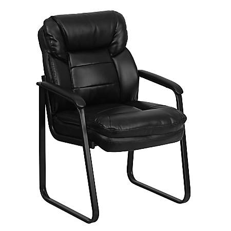 Flash Furniture Leather Sled-Base Side Chair, Black