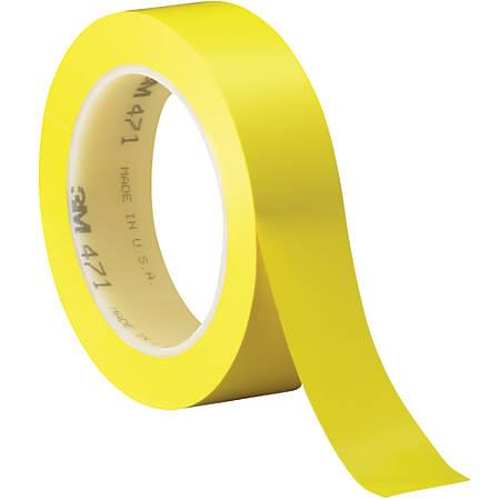 "3M™ 471 Vinyl Tape, 3"" Core, 1"" x 36 Yd., Yellow, Case Of 36"