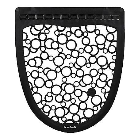 "Boardwalk® Urinal Mat 2.0 Rubber Restroom Floor Mats, 17 1/2"" x 20"", Black/White, Pack Of 6"