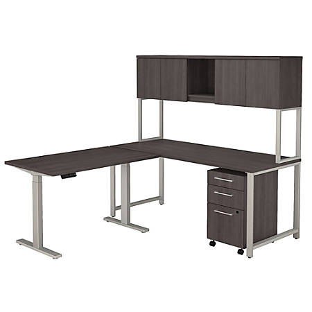 """Bush Business Furniture 400 Series 72""""W L Shaped Desk And Height Adjustable Return With Hutch And Storage, Storm Gray, Standard Delivery"""