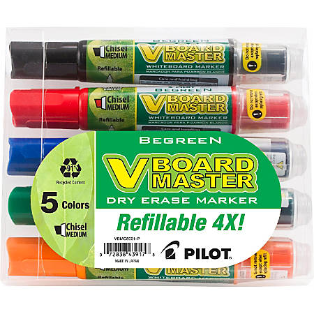 Pilot® V-Board Master BeGreen 91% Recycled Dry-Erase Markers, Chisel Point, Assorted, Pack Of 5