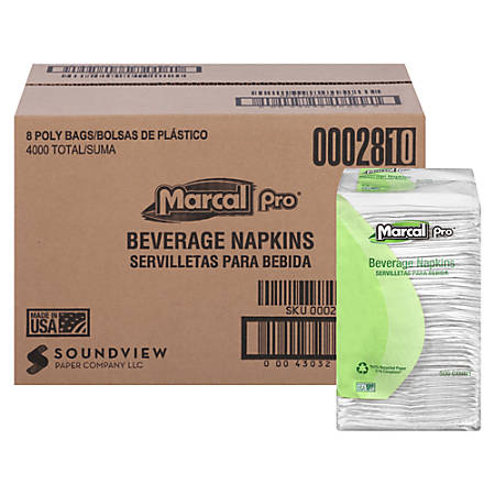 "Marcal® 100% Recycled 1-Ply Beverage Napkins, 9 1/4"" x 9 1/2"", White, 500 Napkins Per Pack, Case of 8 Packs"